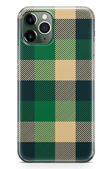 Lopard Apple İphone 11 Pro Max Kılıf Retro Kumaş Yeşil Kapak Renkli
